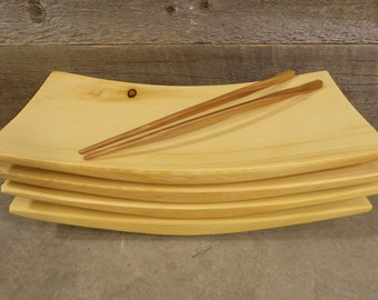 Sushi Plates set of 4 in incense cedar reclaimed wood upcycled eco gift