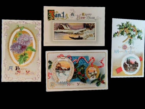 4 Vintage Antique Edwardian Early 1900's HAPPY NEW YEAR Postcards.. Winsch 1910