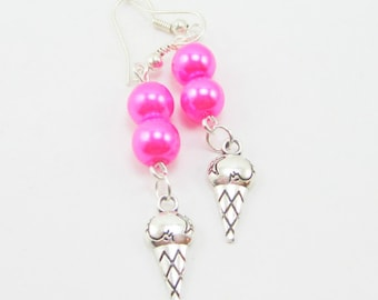 Ice Cream Cone Charm Earrings with Hot Pink Glass Pearls Double Scoop 326