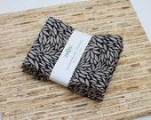 Large Cloth Napkins - Set of 4 - (N2249) - Black Gray Leaves Modern Reusable Fabric Napkins
