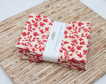 Large Cloth Napkins - Set of 4 - (N1429) - Red Leaves Modern Reusable Fabric Napkins