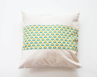 """Yellow Little Flower Panel Pillow Decorative Cover with Invisible Zipper - 20""""x20"""""""