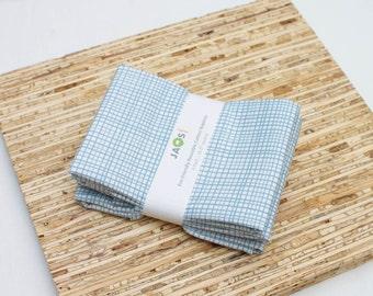 Large Cloth Napkins - Set of 4 - (N1549) - Blue Modern Reusable Fabric Napkins