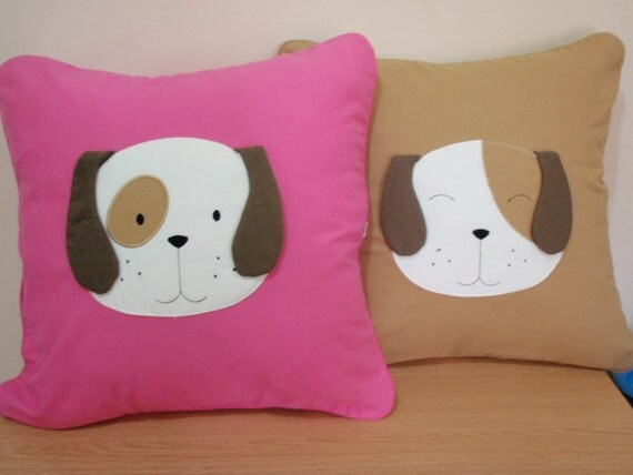 Happy Smiling Dog Applique Cotton Pilow or Cushion Case