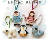 Eskimo Kisses Christmas Ornament decorations - pdf pattern