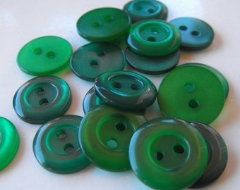 25 Green Shiny Donut Rim Round Buttons 9/16