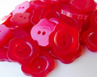 """52 Red Shiny Thin Rim Flower Buttons Size 5/8"""""""
