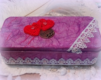 SALE,  Victorian Style, Keepsake box, Hand Decorated box, Red Heart, Mixed Media, Embellished jewelry case,  trinket box, Purple