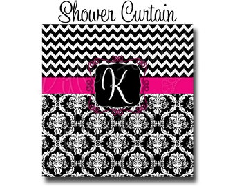 "Custom Personalized Monogram Shower Curtain - You Choose Size , 70"" x 70"", 70"" x 90"", or ANY size You Choose Colors - Chevron & Damask"