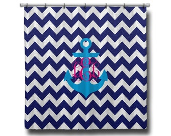 "Custom Personalized Monogram Shower Curtain - You Choose Size , 70"" x 70"", 70"" x 90"", or ANY size Anchor Nautical Chevron"