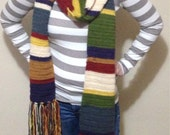 Long striped scarf - long unisex scarf - striped crochet scarf - geek scarf - sci-fi scarf - nerd scarf - free shipping - fandom