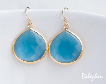 London Blue Topaz Earrings - Bezel Gemstone Earrings - December Birthstone Jewelry - Gold Earrings - Drop Earrings