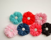 CHOOSE YOUR SIZE, Baby Headband, Hair Clip,  Chiffon Ballerina Flower with Rhinestone Center  Baby Girl Photography Prop