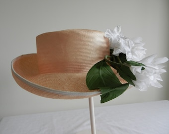 Vintage Pink Straw hat by AdolphoII