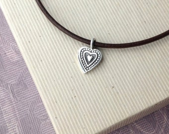 Heart pendant necklace, leather cord, silver heart necklace, minimalist jewelry, meaningful jewelry N285L