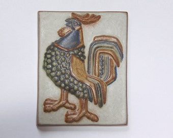 Modernist  Rare Danish Wall Plaque Rooster - Marianne Starck
