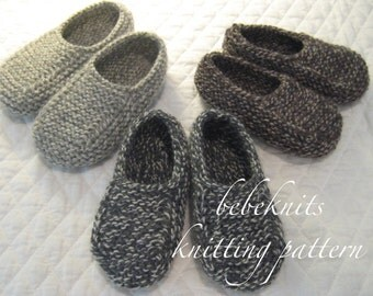 Bebeknits Normandy Toddler Slippers Knitting Pattern in 3 Sizes