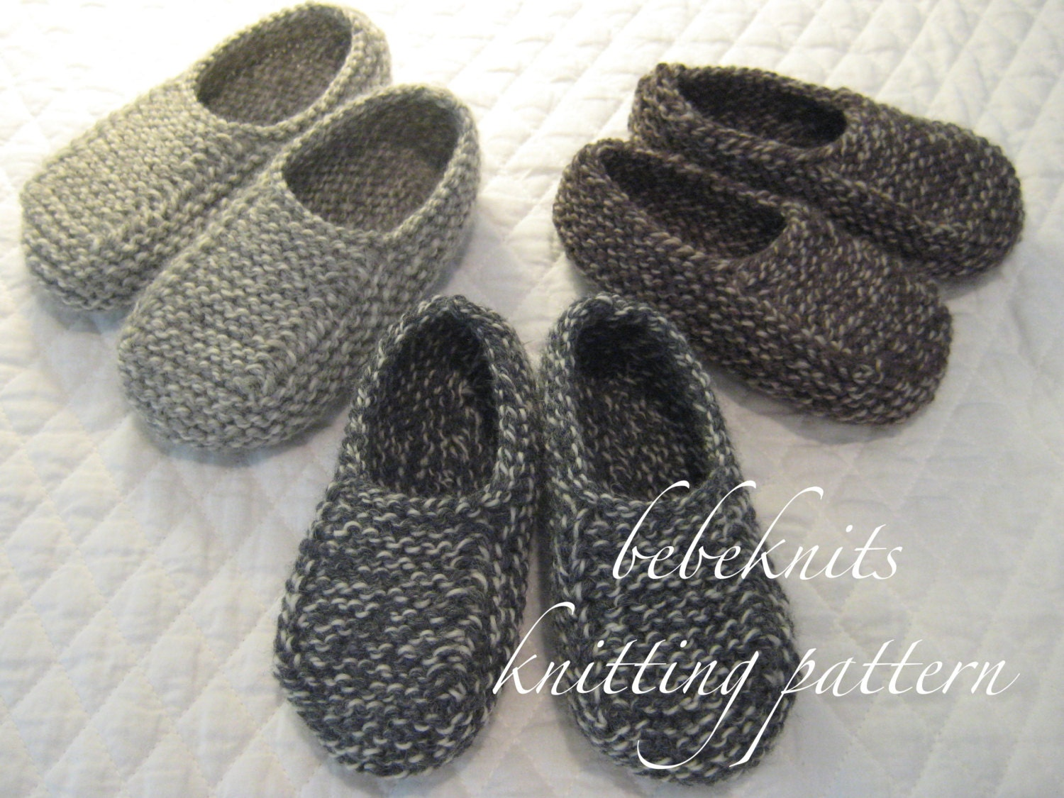 Bebeknits Normandy Toddler Slippers Knitting Pattern in 3