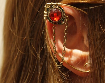 brass elven ear  - ear cuff - elvish earring - elf ear - RED