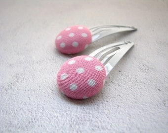 Pink Polka Dots Fabric Button Hair Clips