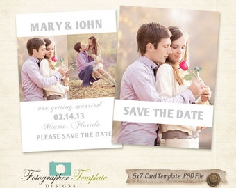 Save the Date Photo Card Template Photography Templates - AB007