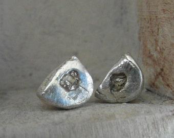 Pave set-Rose cut -Raw Rough Diamond-post back-stud earrings- organic silver-half moon shape