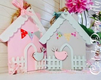 Wooden BirdHouse Hanger