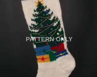 PRINTED Pattern Only Hand Knitted Christmas Tree Stocking