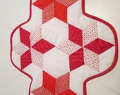 """Red and white star quilt pattern table topper, 20"""" x 28"""""""