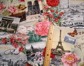LAST PIECE - 1 yard 21 inches - Spring in Paris Scenic premium cotton fabric by Elizabeth's Studio - eiffel tower,pink roses,cafes