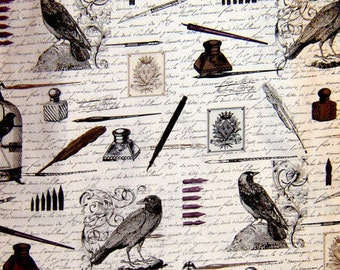 Nevermore Edgar Raven Words cotton quilting fabric by Michael Miller - Poe, gothic, victorian, halloween,