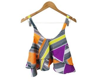 Wild Print 2 Tier Drapey Ruffle Low Cut Cami Crop Top Sample Sale size Medium sold as is