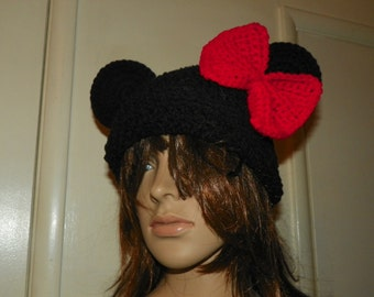 Minnie Mouse Hat  with a XLarge Red Bow   Mickey Mouse Beanie Hat  for a  Adult