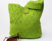 Crochet Handbag  Crochet Purse Spring Handbag  Summer Bag Green Handbag Cotton  Full Lining  Summer Fashion Handbag