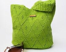 Crochet Handbag / Crochet Purse, Spring Handbag / Summer Bag, Green Handbag, Cotton / Full Lining / Summer Fashion Handbag
