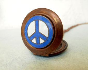 Vintage Copper Peace Sign Locket