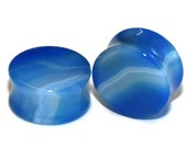 "Double Flared Blue Agate Plugs - 8g, 6g, 4g, 2g, 0g, 00g, 7/16"", 1/2"", 9/16"", 5/8"", 3/4"", 7/8, 1"""