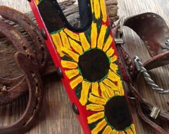 Hand painted big beautiful Sunflower Boot Jack