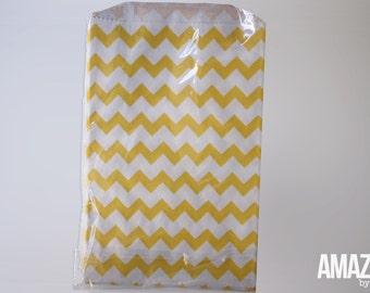 12 yellow & white chevron bakery treat bags