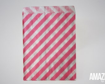 25 neon pink & white striped bakery treat bags