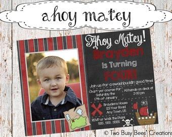 Ahoy Matey! Striped Pirate Birthday Party Invitation