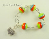 Bracelet of Green, orange and Gray with Heart Charm