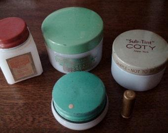 Vintage Cosmetics, Dorothy Perkins Foundation Cream, Coty SubTint, White Magic Cream Lotion, Avon Pink Tinge Lipstick Sample--Treasury Item