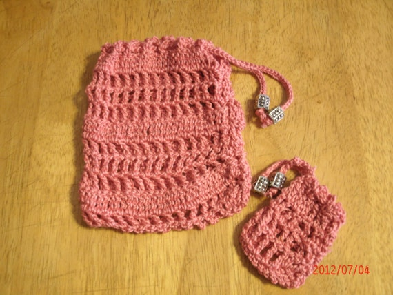 Items similar to hand crocheted Tarot card bag, 100% ...
