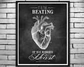 "Halloween Print ""Hideous Heart"" Edgar Allan Poe Quote - Black Chalkboard Heart Print, Wall Art, Invitations - Instant Digital Download 8x10"
