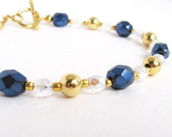 Blue and Gold Bracelet, Single Strand Wire Beaded Bracelet, Metallic Dark Blue Czech Bead Bracelet, Elegant Jewelry for Her