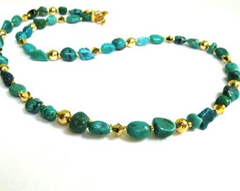 Green Turquoise Necklace, Small Green Nugget Necklace, Green and Gold Single Strand Necklace, Turquoise Beaded Wire Necklace, Toggle Clasp
