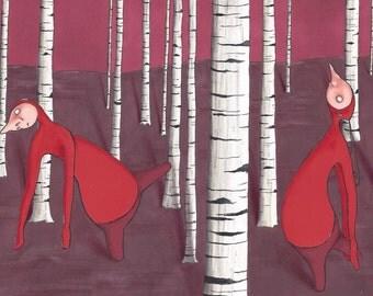 Original Art, Illustration, Birches