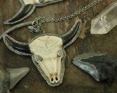 On SALE Wild & Free, Buffalo Skull Carved Bone Pavé Diamond Pendant, Horn, Sterling Silver, Bohemian Boho Focal Piece, Jewelry Supply