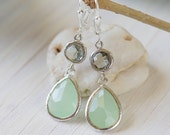 Mint Teardrop and Charcoal Jewel Drop Earrings in Silver.  Mint and Grey Bridesmaid Dangle Earrings. Jewelry Gift Her.  Christmas Gift.
